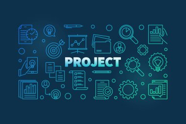 Project outline colorful banner. Vector business illustration