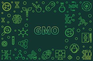 Vector GMO concept horizontal outline green frame
