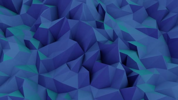Low Poly Abstract Background Wallpaper Animation: Slow Moving turquoise blue water waves