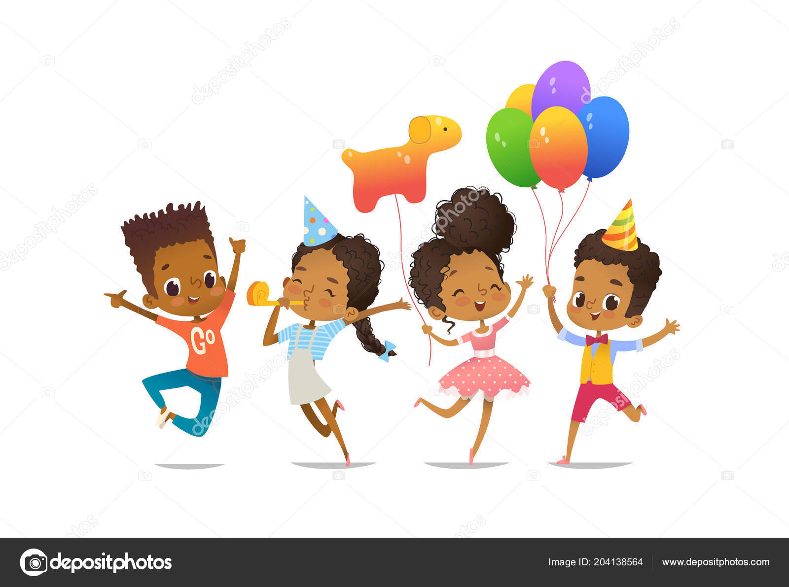 Group of African-American happy boys and girls with the balloons and ...