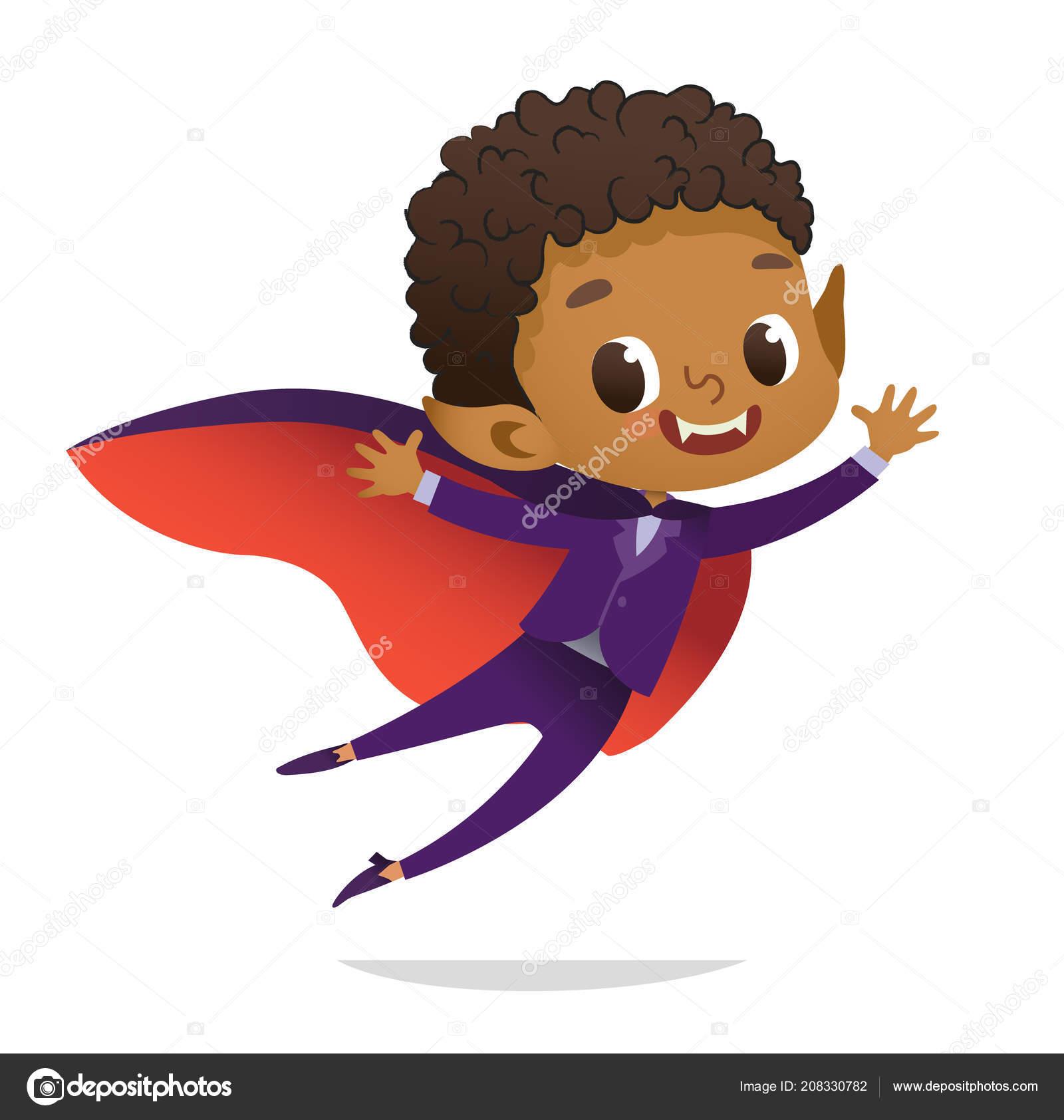 Kids Costume Party. African-American Dracula Vampire Boy in ...