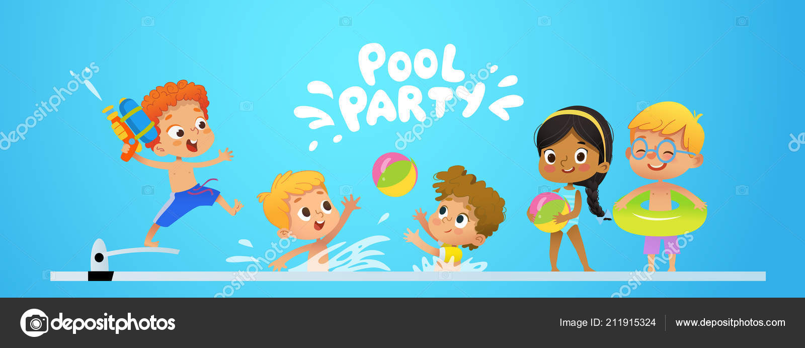 Pool Party Invitation Template Baner Multiracial Children Have Fun
