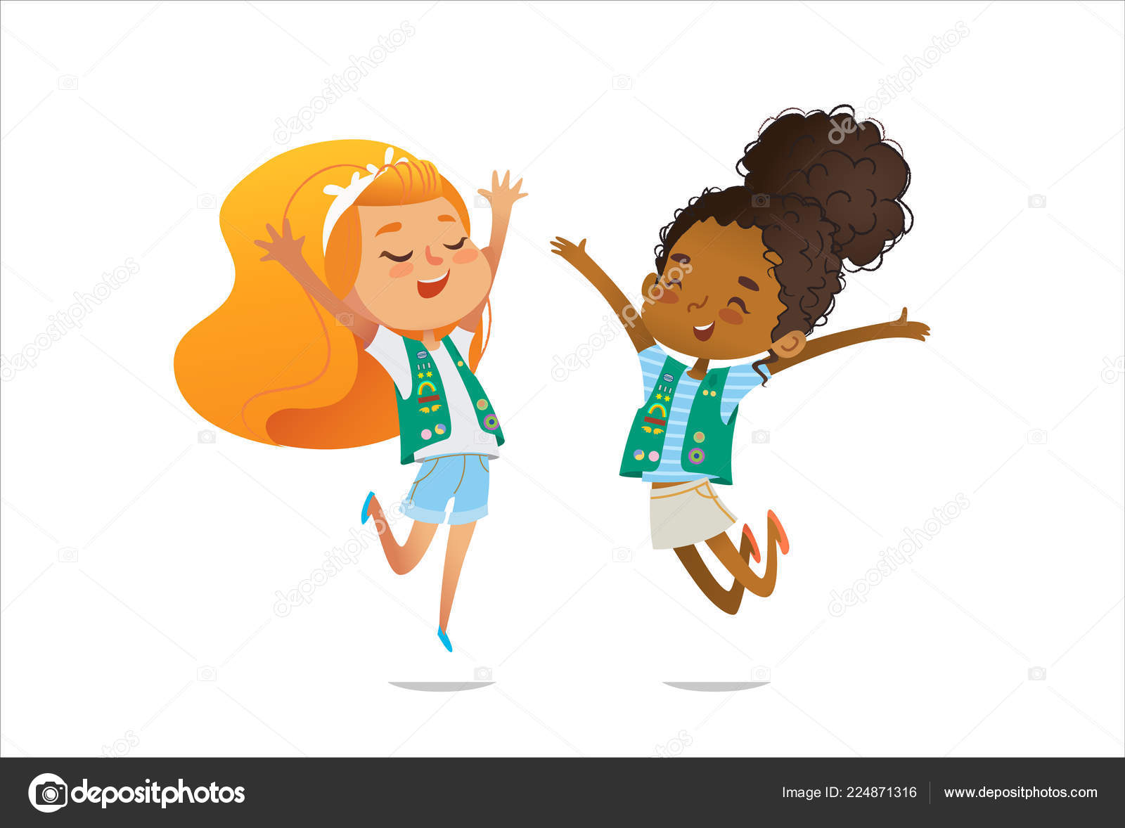 Presenting girl scout badges | Young smiling girls scout