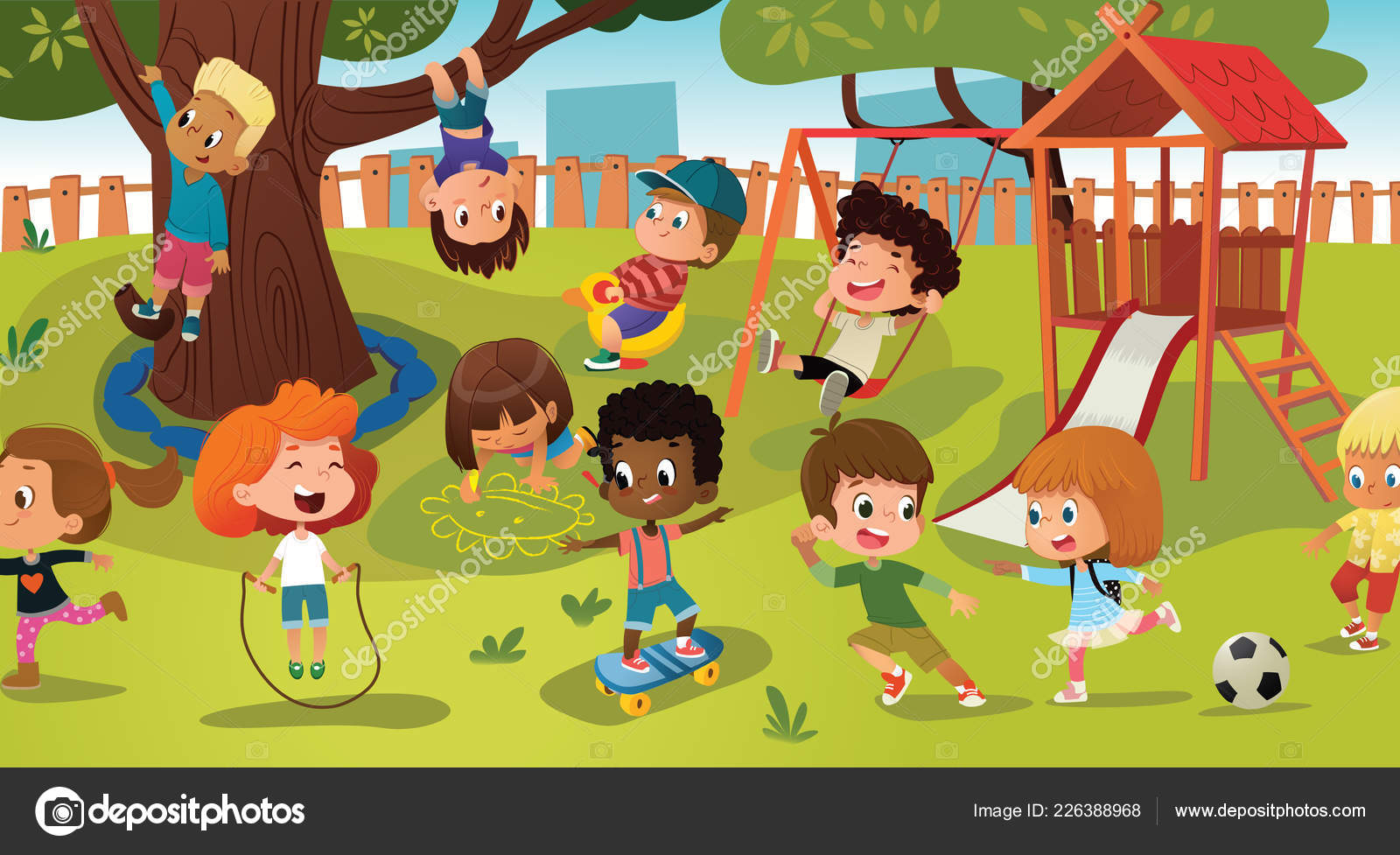 ecef83d7d Grupo de niños jugando juegos en un parque público o recreo con columpios,  toboganes, skate, bola, lápices de colores, cuerda, juego de ponerse al día.