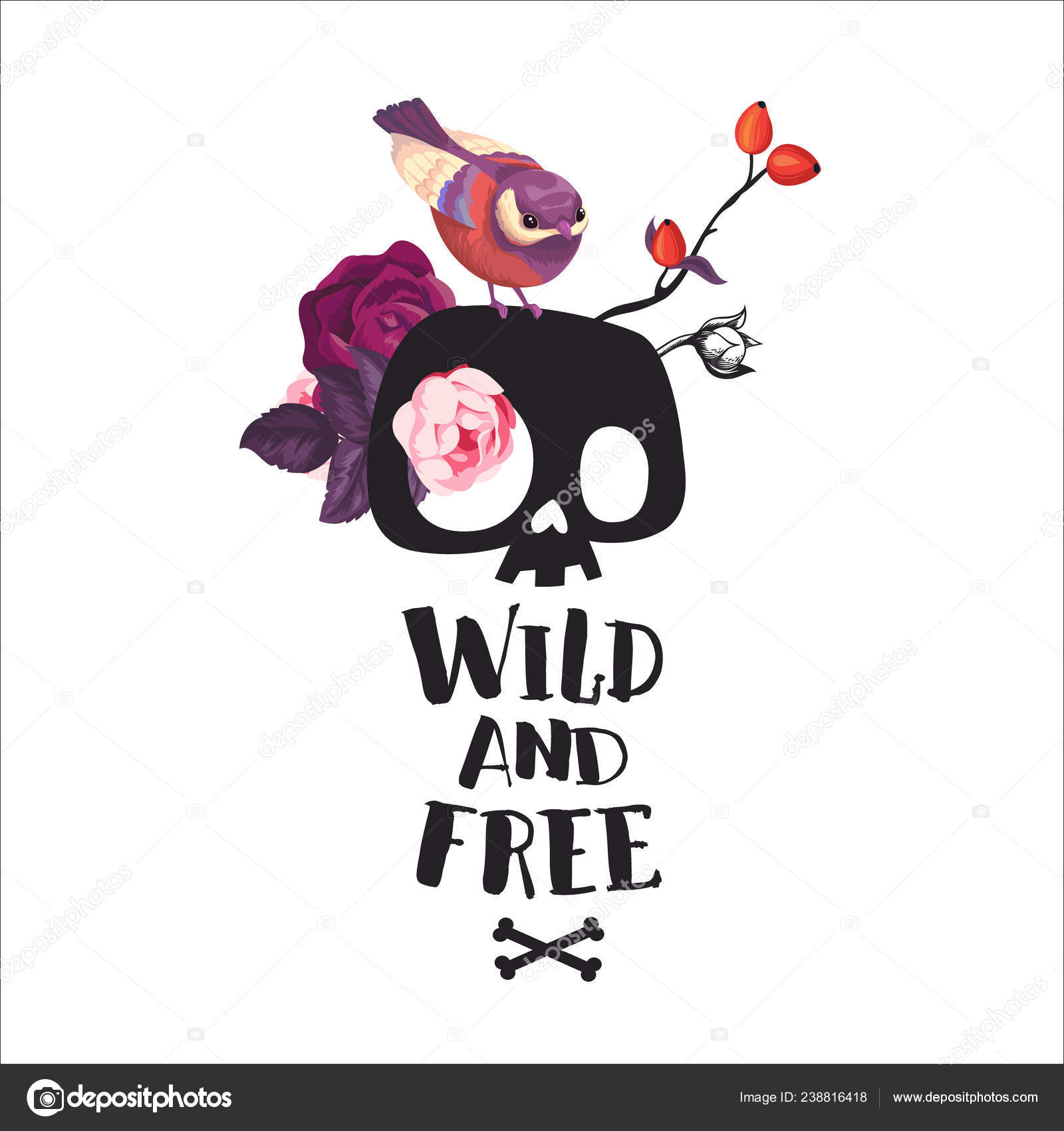 Wild And Free Lettering Fashion Illustration With The Cute