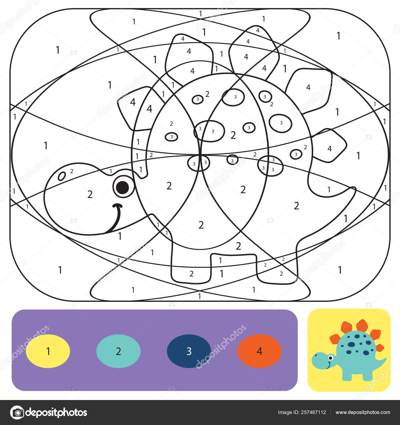 Söt Dino Målarbok För Barn Färg Pussel Med Siffror O