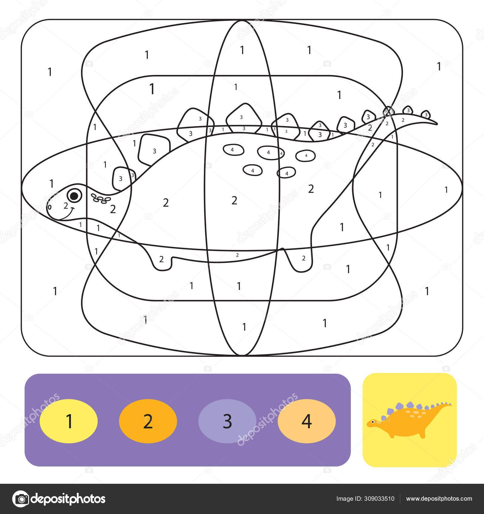 Disegni Numeri Da Colorare Per Bambini.Carina Dino Pagina Da Colorare Per Bambini Puzzle Da Colorare Con
