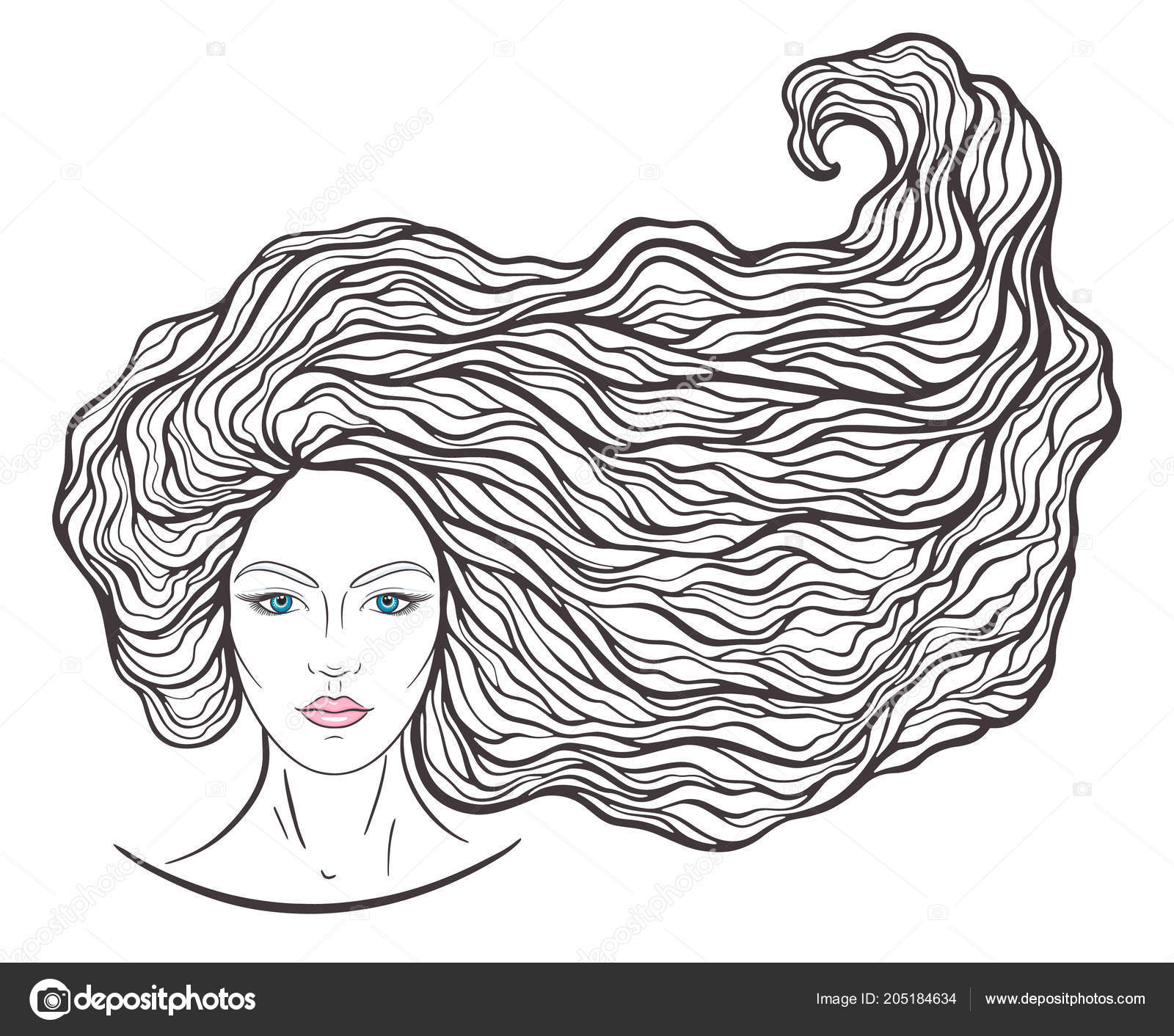 Beautiful Girl Face Long Curly Hair Neutral Expression Hand Drawn