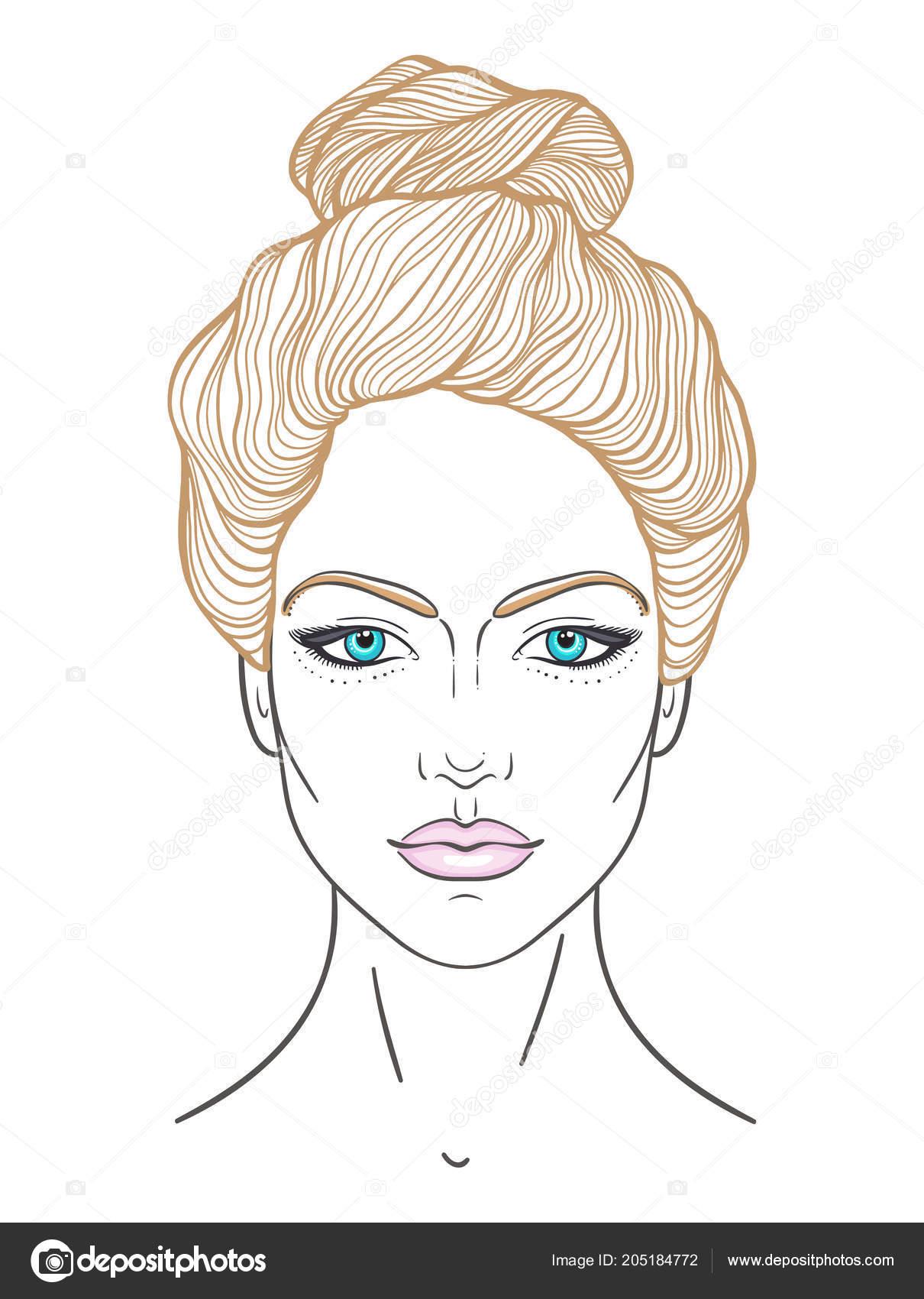 de líneas elaborado estilizada Retrato hacer chica mujer peinado la de neutral de nudo en Cara con la hasta superior de y expresión mano hermosa xwRTC1nqU