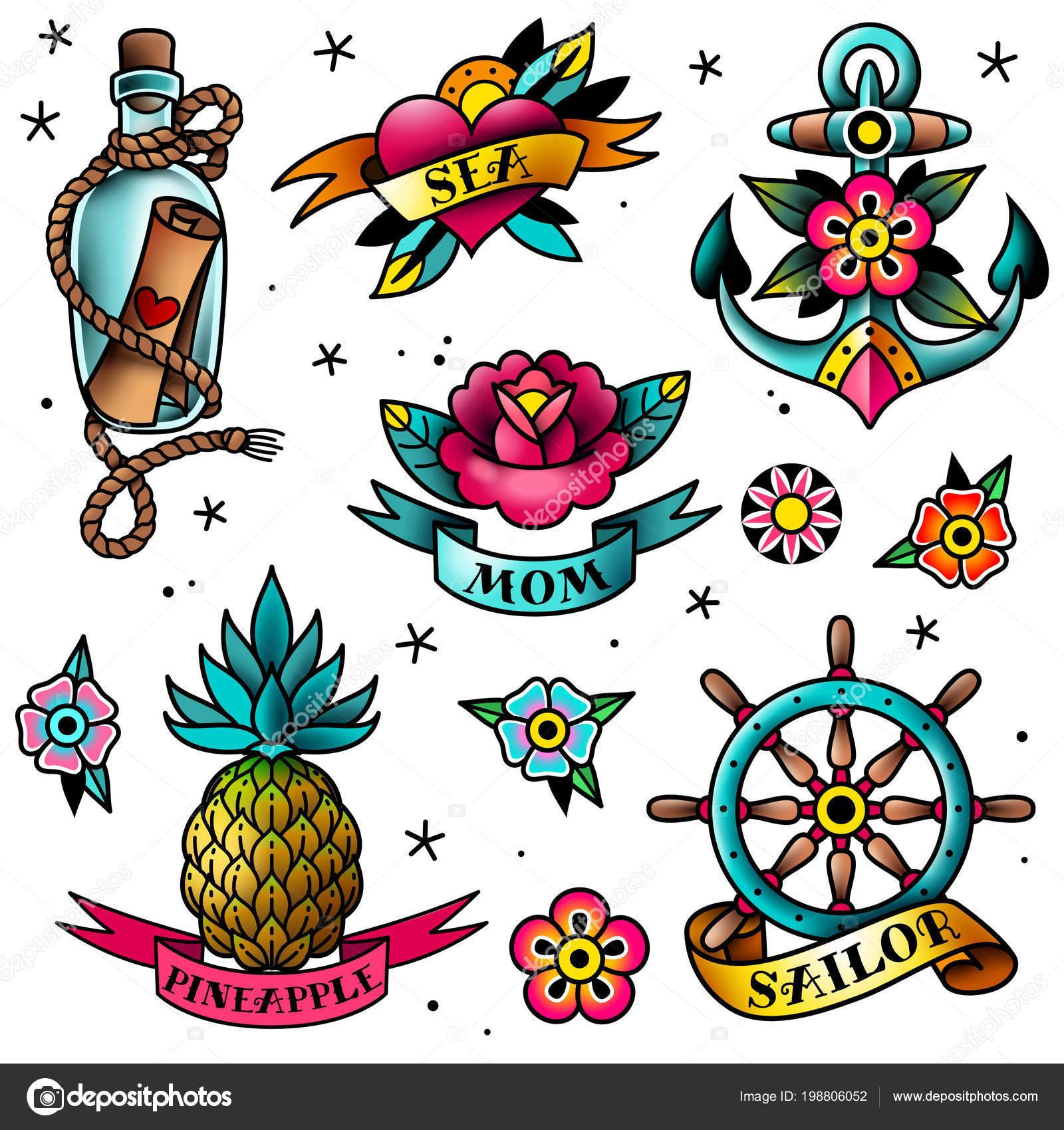 67f1108aec880 old school tattoo set — Stock Vector © Helen_Adamova #198806052