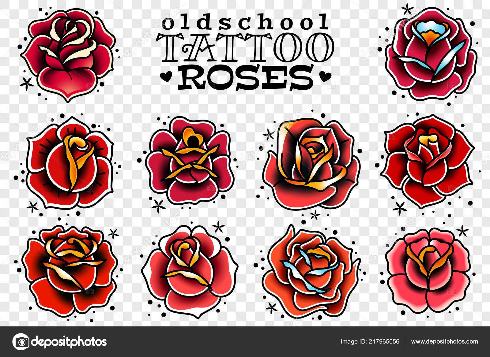 Set Four Oldschool Tattoo Red Roses White Background Stock
