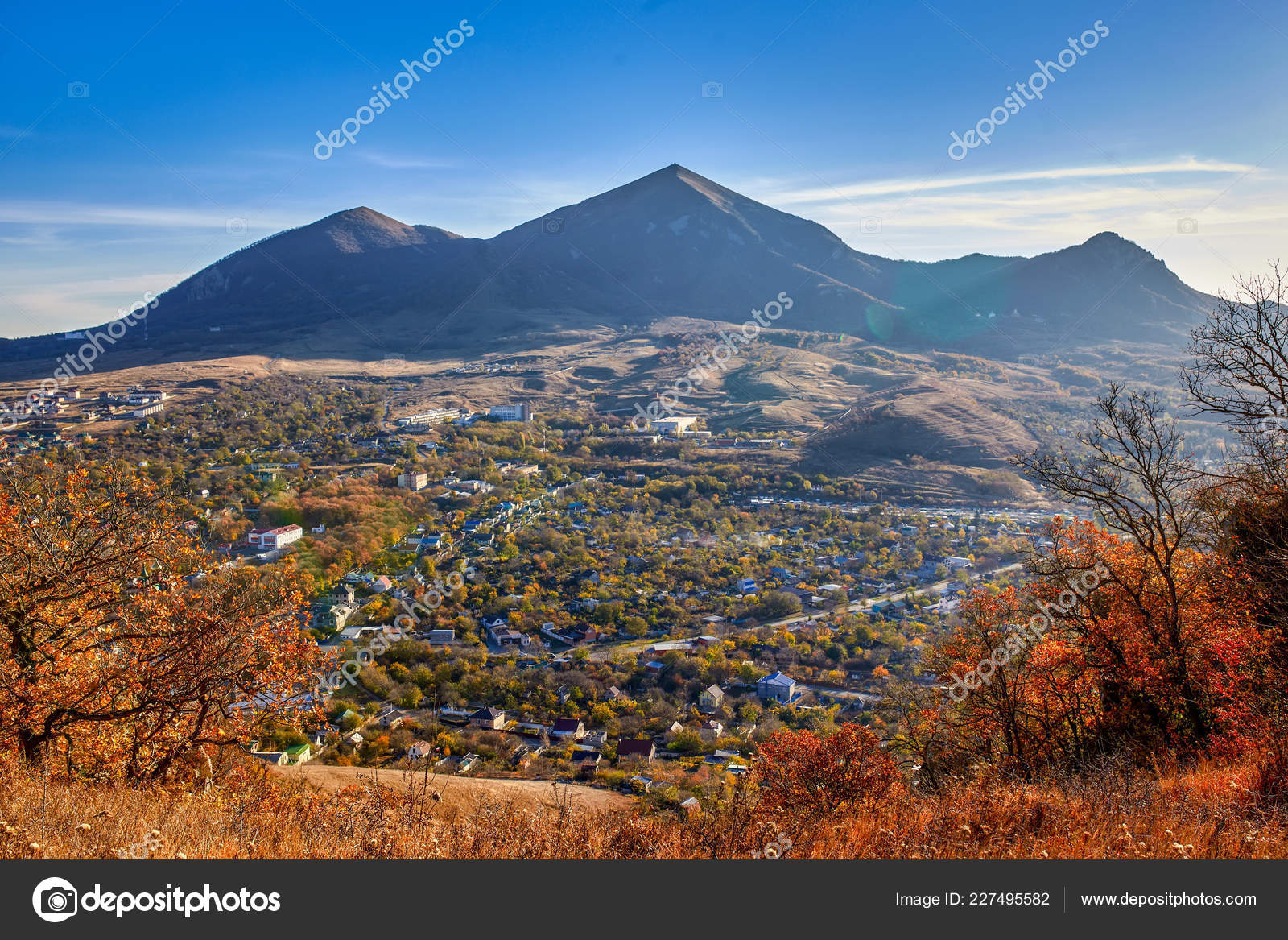 northern caucasia view mount scabby mount beshtau stock photo