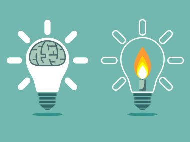 Light bulb with a candle and Brain in lamp. Isolated object can be used with any image or text.