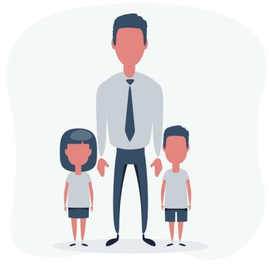 Man with children. Father with the daughter and son. Stock vector illustration for poster, greeting card, website, ad, business presentation, advertisement design. icon