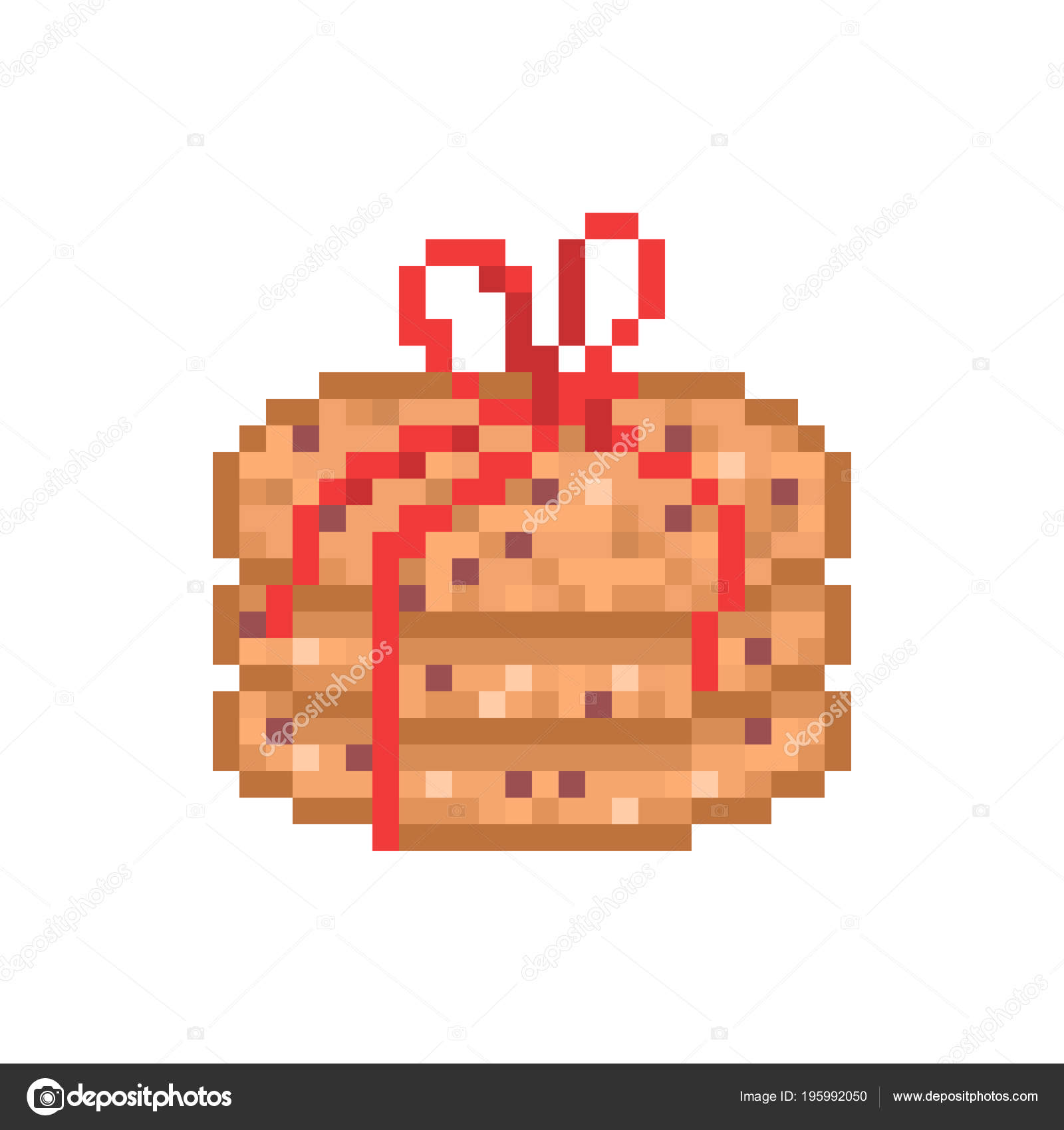 2dfa518f4bcd Chocolate Oatmeal Cookies Decorated Red Ribbon Pixel Art Icon ...