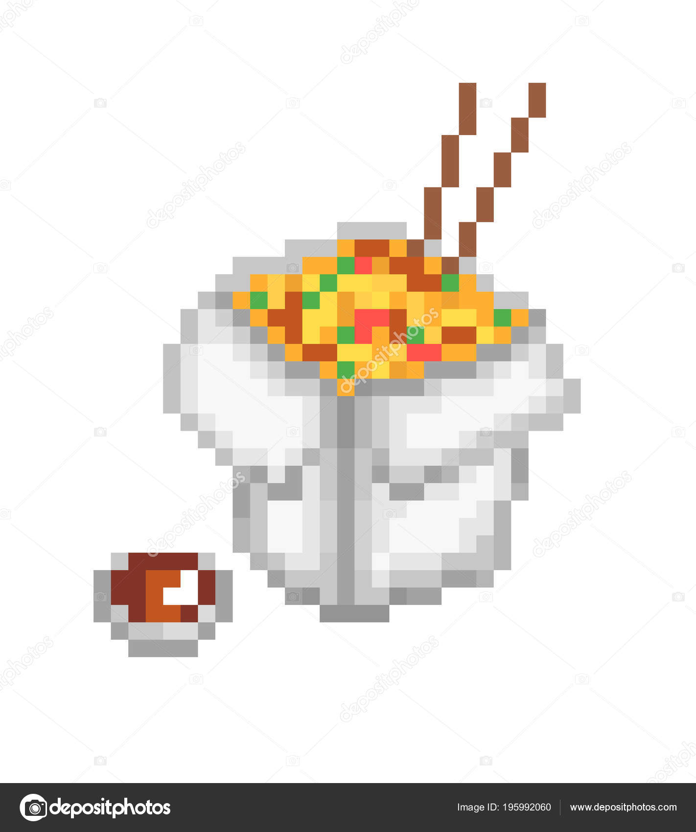 Chinese Food Box Pixel Art Icon Isolated White Background Noodles Stock Vector C Ksuperksu 195992060