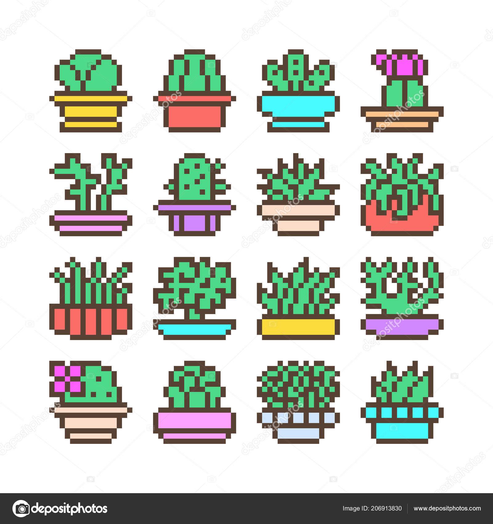 Succulent Plants Pixel Art Big Set 16x16 Pixel Art