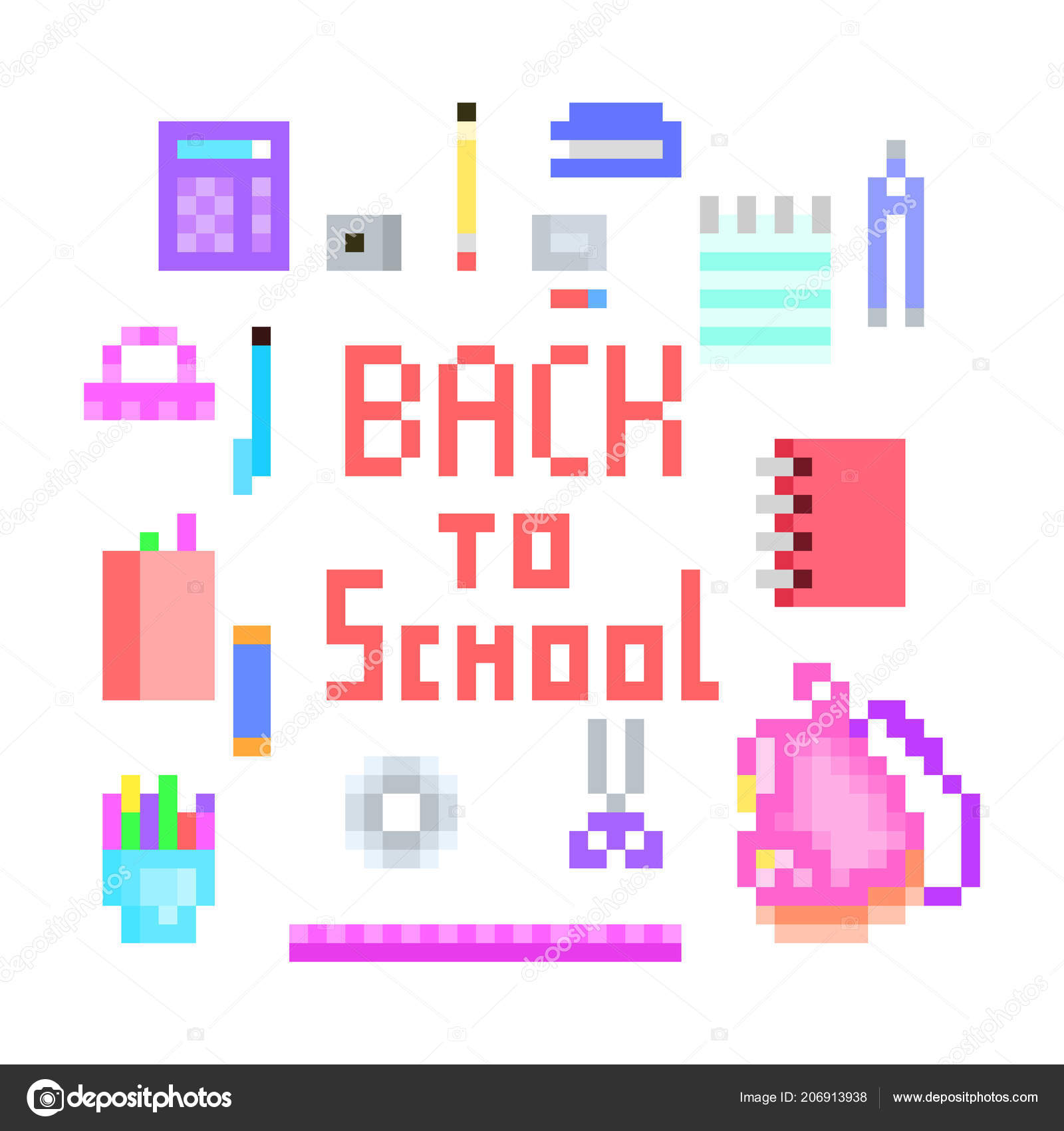 Old School Pixel Art Back School Print Lettering Stationery Icons