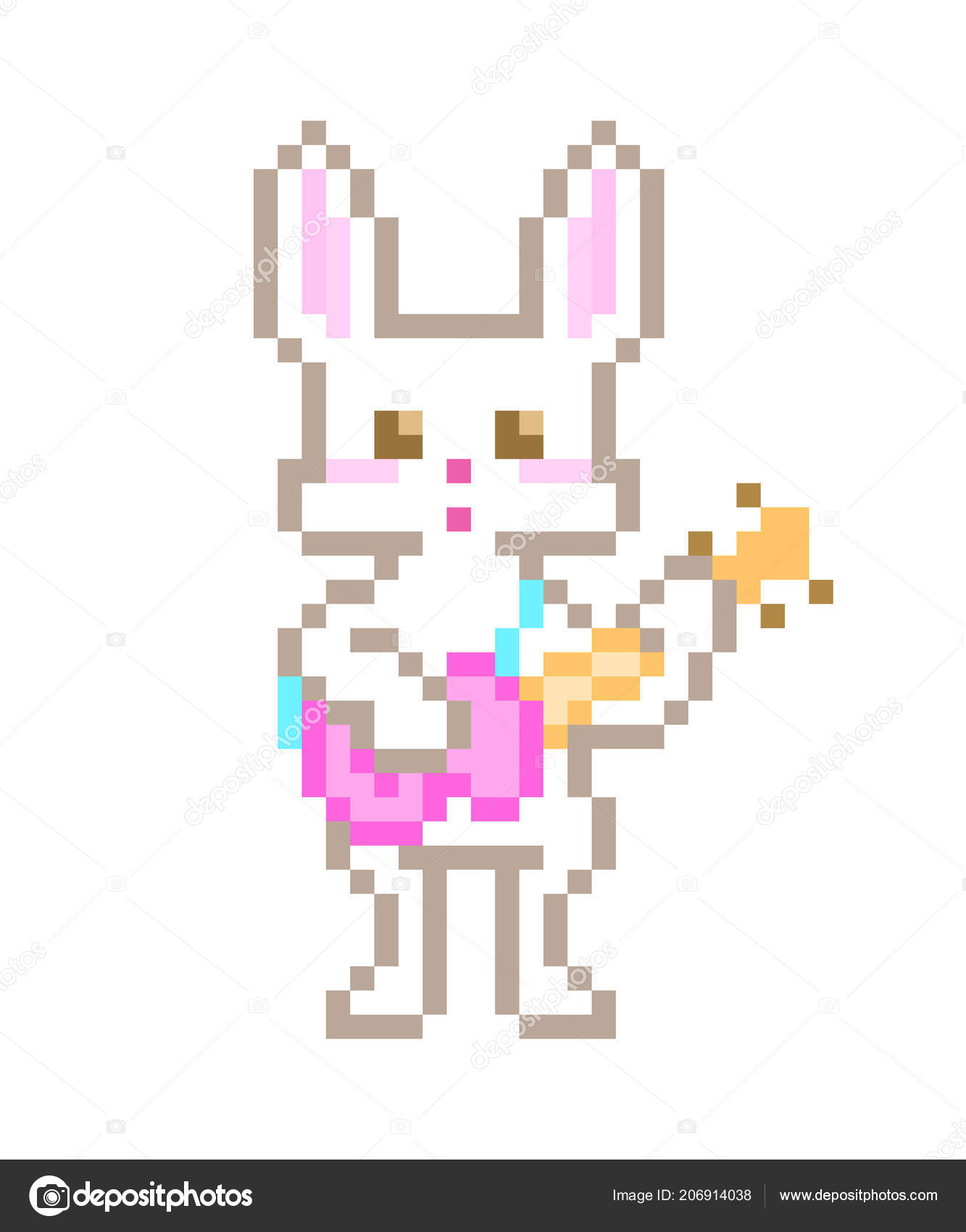 Lapin Blanc Chantant Jouant Guitare Rose Caractere Art Pixel Isole