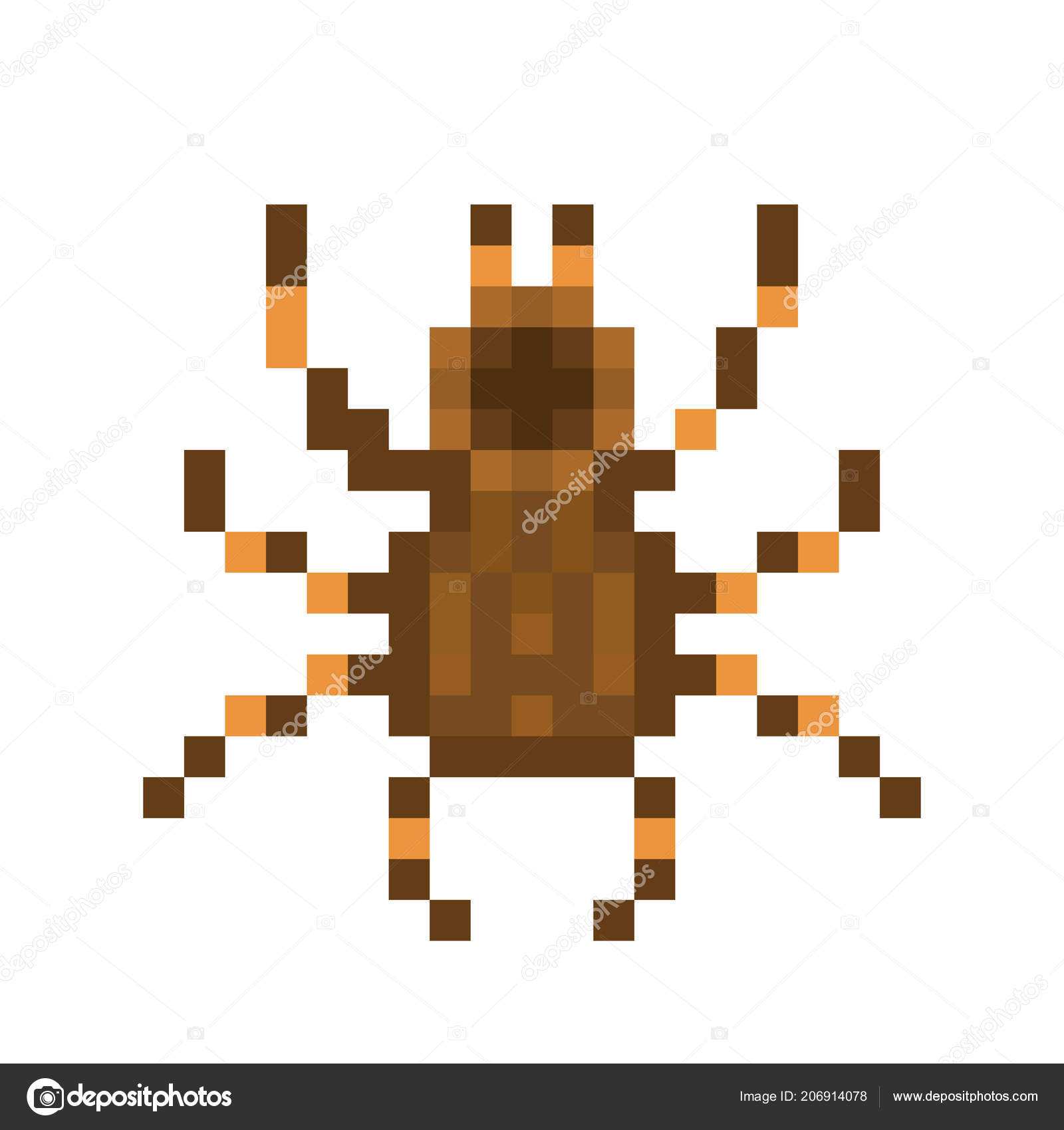 Tarântula Arte Pixel Isolada Fundo Branco Aranha Estimação
