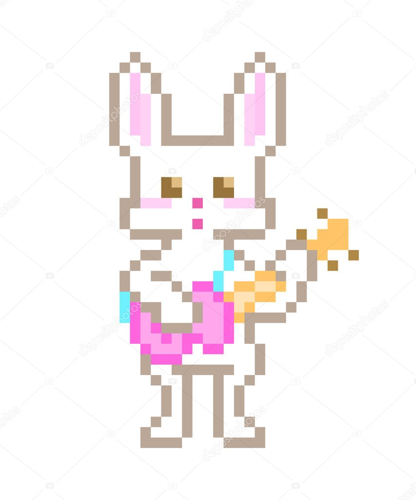White Rabbit Singing And Playing Pink Electric Guitar Pixel Art Character Isolated On White Background Music School Mascot Music Shop Logo 8 Bit Cute Cartoon Forest Animal Icon Summer Festival Premium