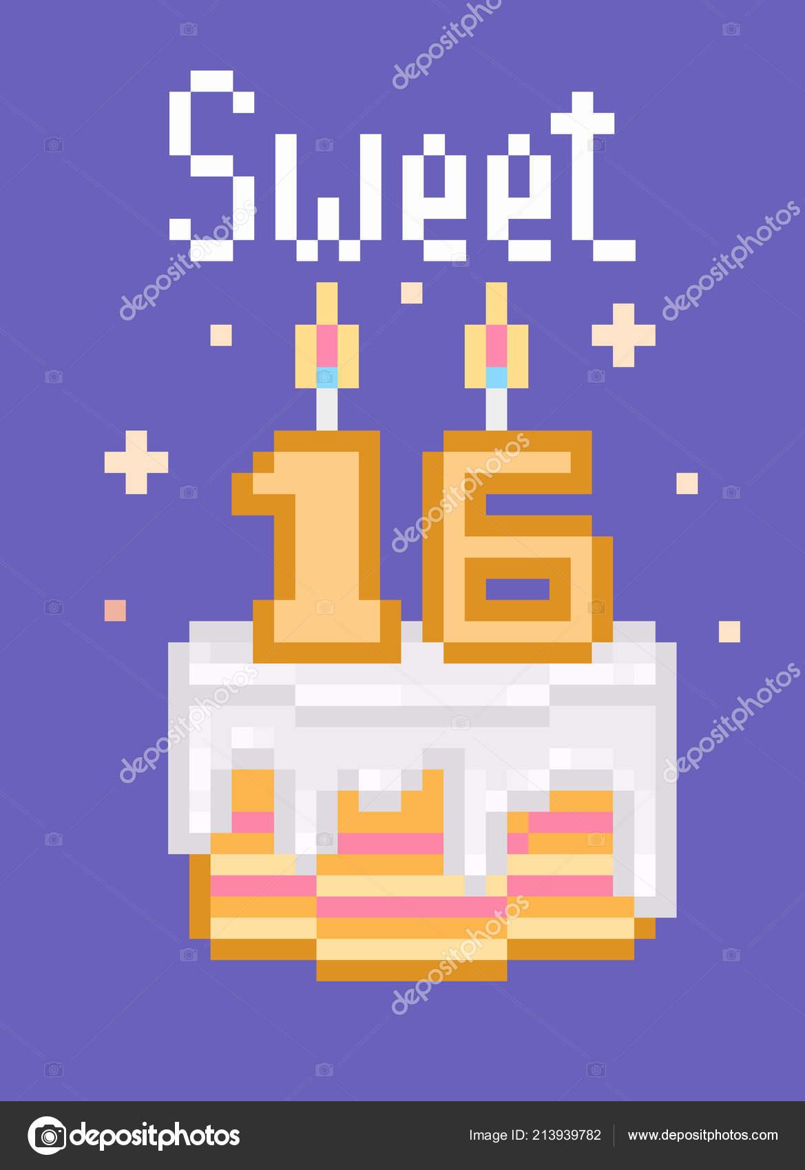 Retro 80S 90S Pixel Art Happy Birthday Card Words Cake Stock Vector