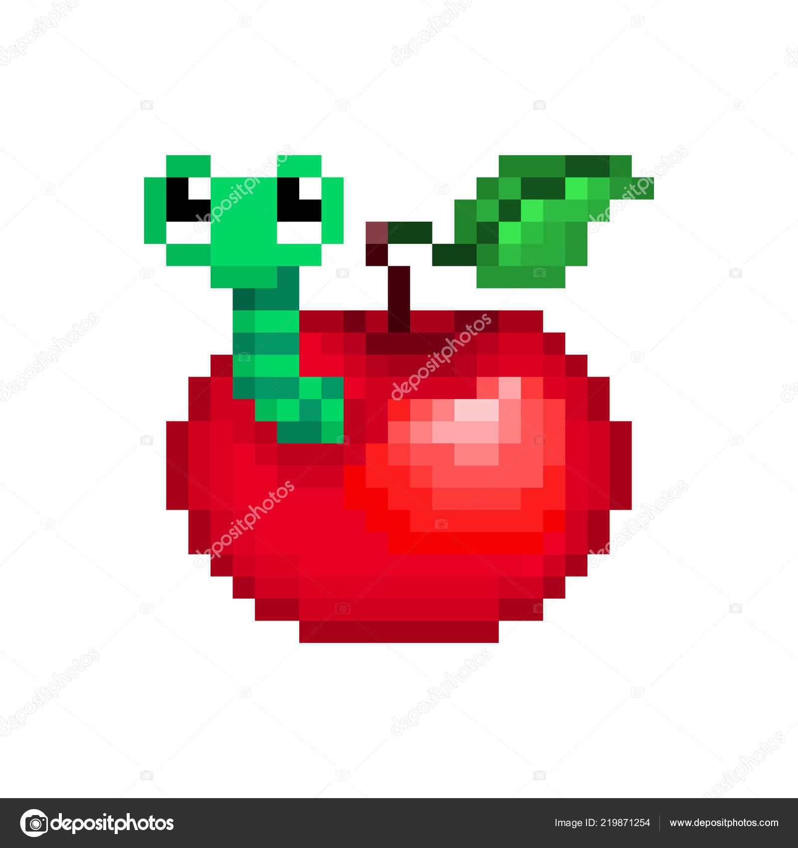 Pomme Rouge Avec Ver Vert Intérieur Pixel Art Illustration