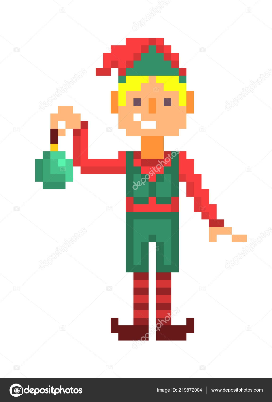 Elfo Navidad Arte Píxel Aislado Verde Con Juguete Personaje Muchacho Nvmwn0O8