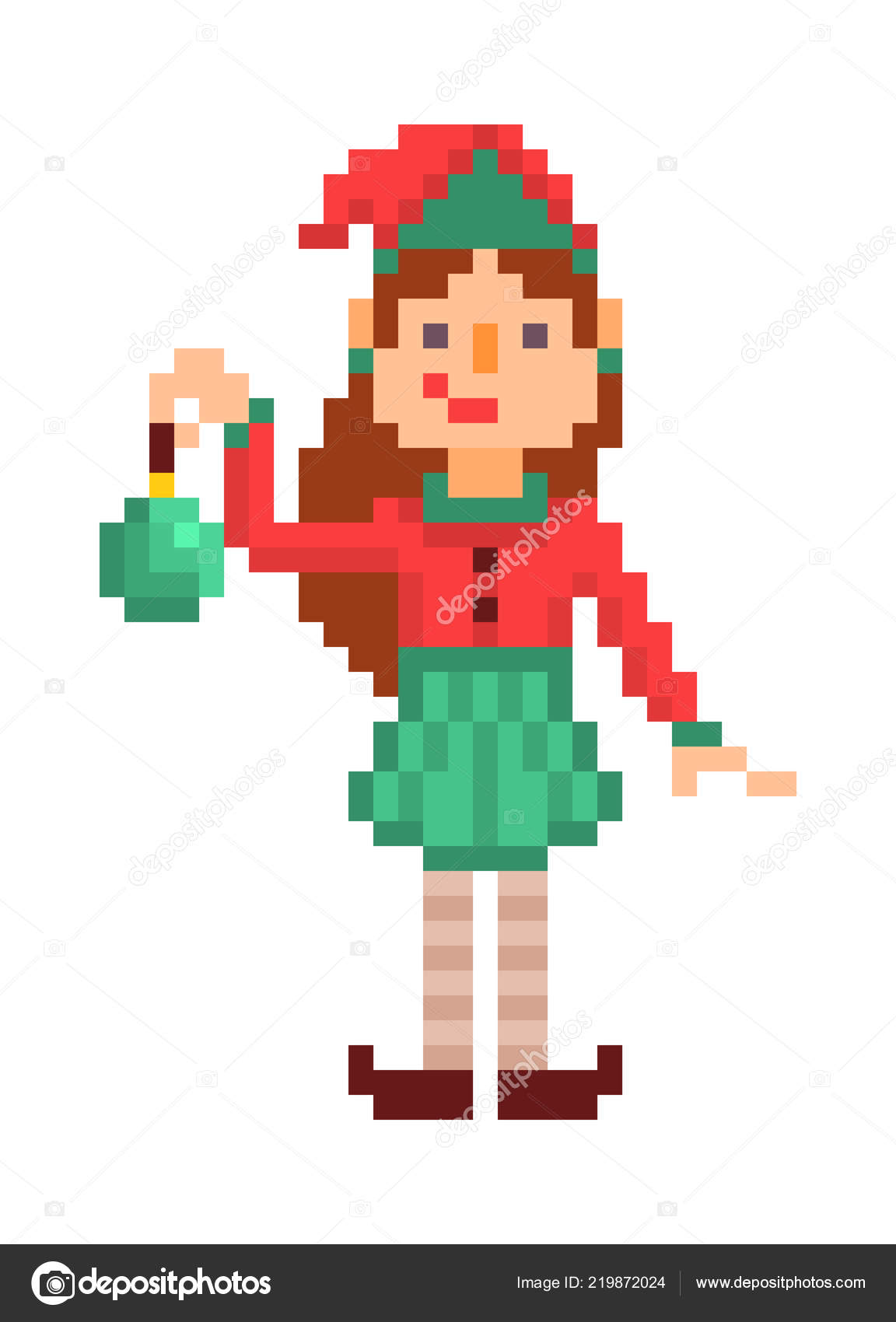 Con Elfo Verde Juguete Arte Píxel Navidad Aislado Personaje Muchacha vwOymNnP08