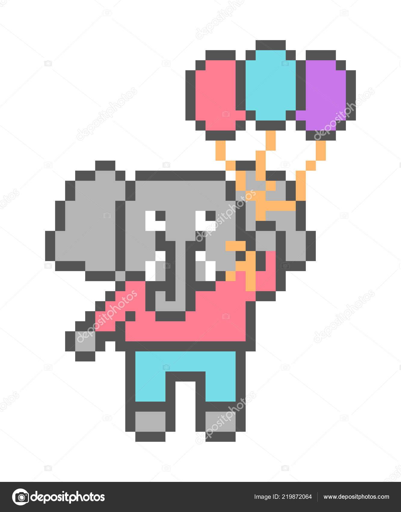Balloon Pixel Art Elephant Flying Balloons Pixel Art
