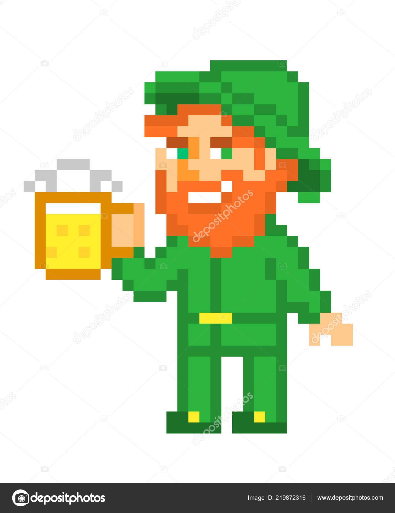 Duende Com Uma Caneca Cerveja Arte Pixel Isolado Fundo
