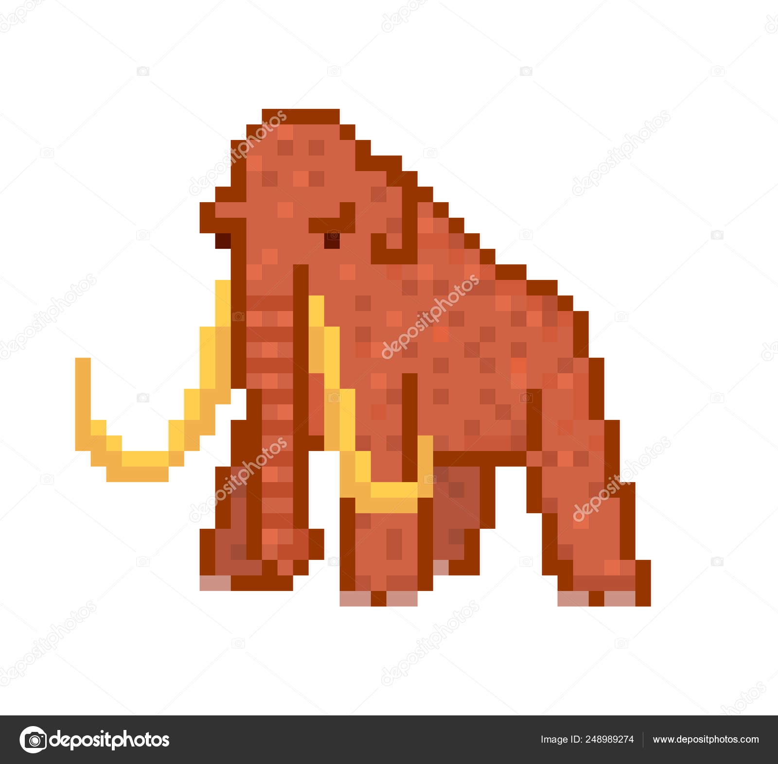 énorme Mammouth Laineux Brun Avec Des Défenses 8 Bit Pixel
