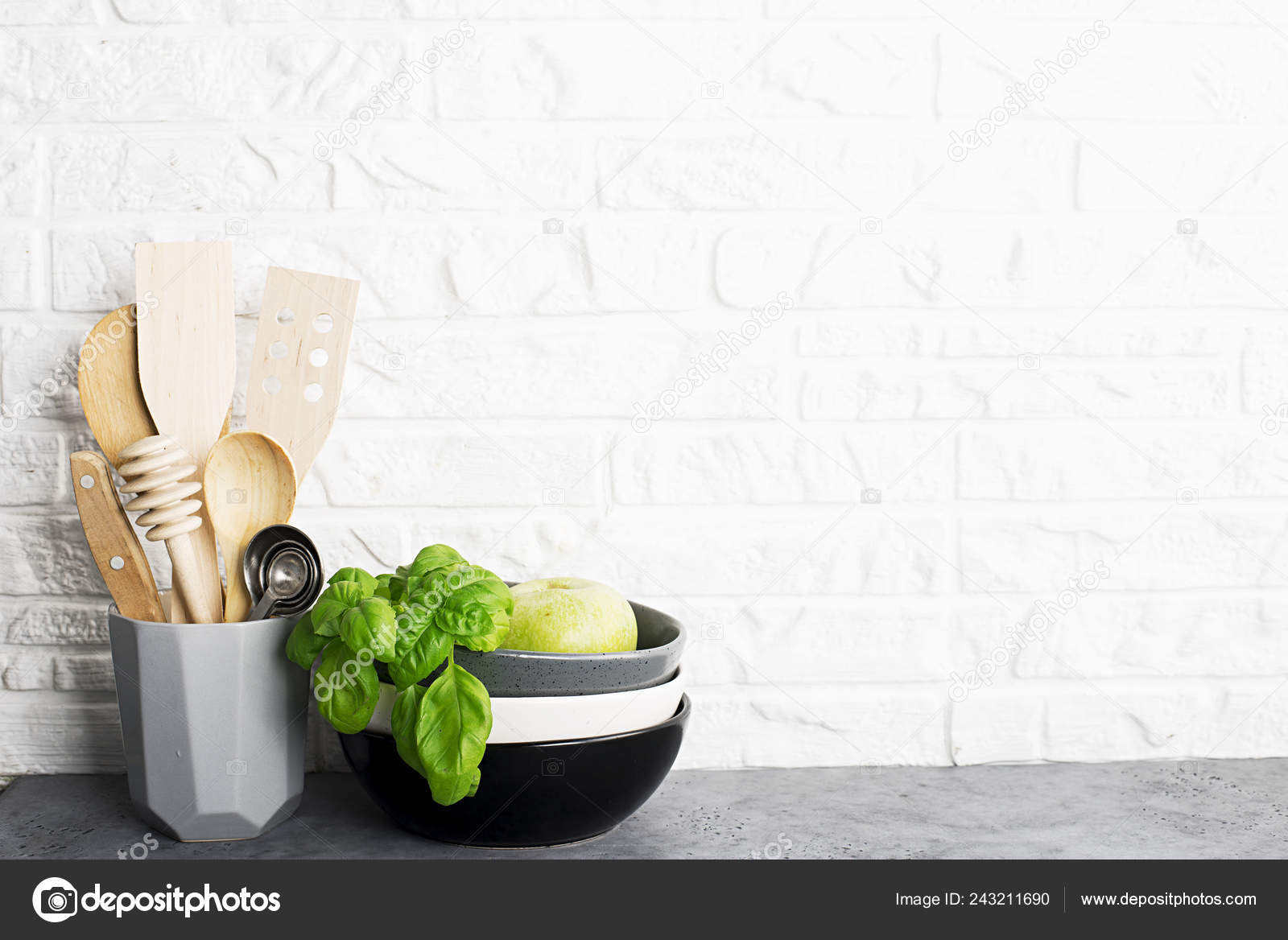 Kitchen Tools Olive Cutting Board Kitchen Shelf White Brick Wall Stock Photo C Ileishanna 243211690