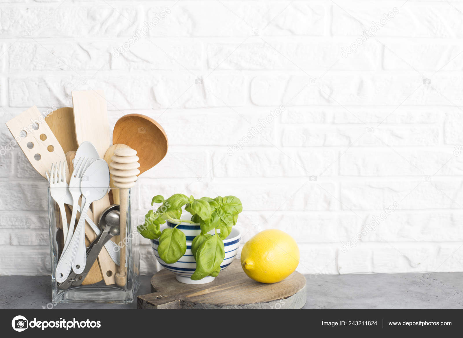 Kitchen Tools Olive Cutting Board Kitchen Shelf White Brick Wall Stock Photo C Ileishanna 243211824