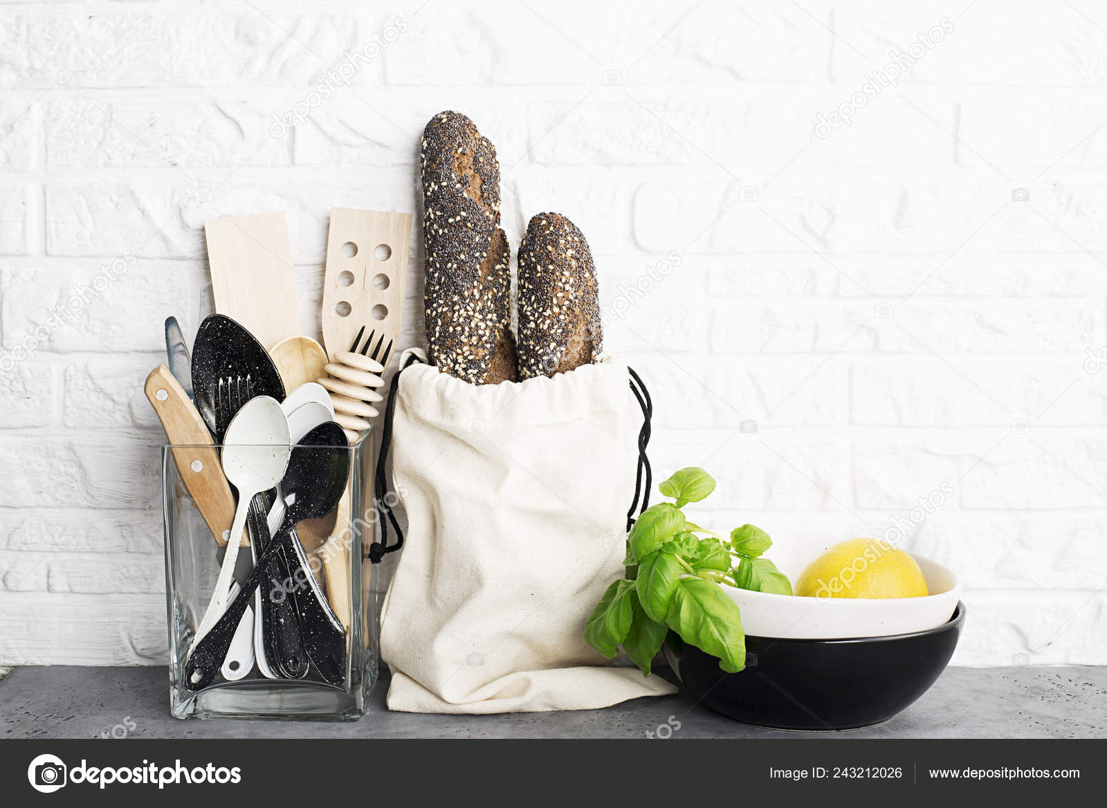 Kitchen Tools Olive Cutting Board Kitchen Shelf White Brick Wall Stock Photo C Ileishanna 243212026