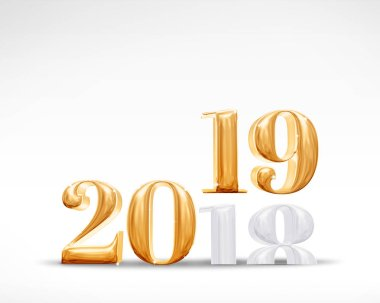 2018 change to 2019 new year golden number (3d rendering) on white studio room background,Holiday celebration card