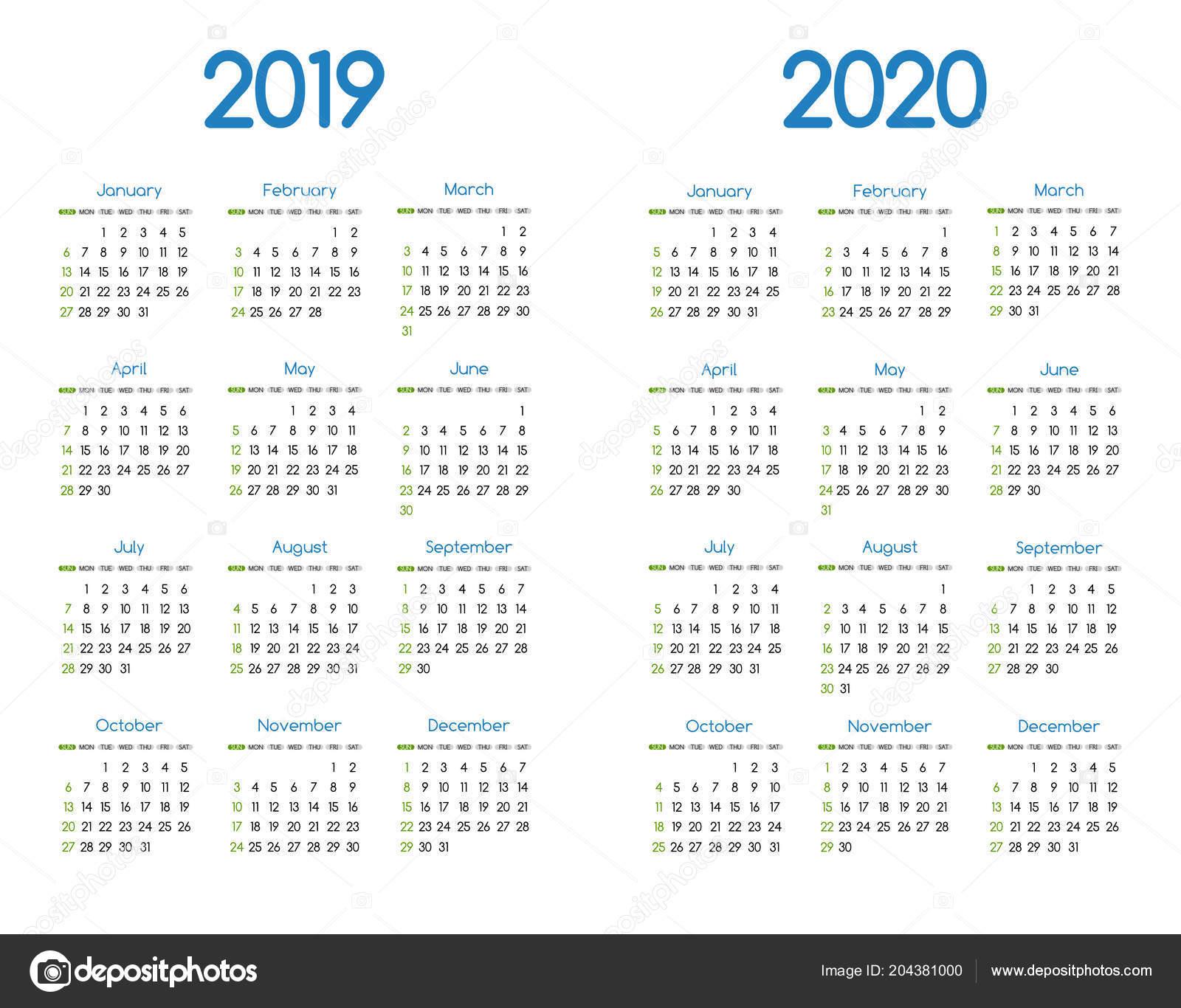 Calendario Con Le Settimane 2020.Nuovo Anno 2019 2020 Calendario Moderno Semplice Disegno