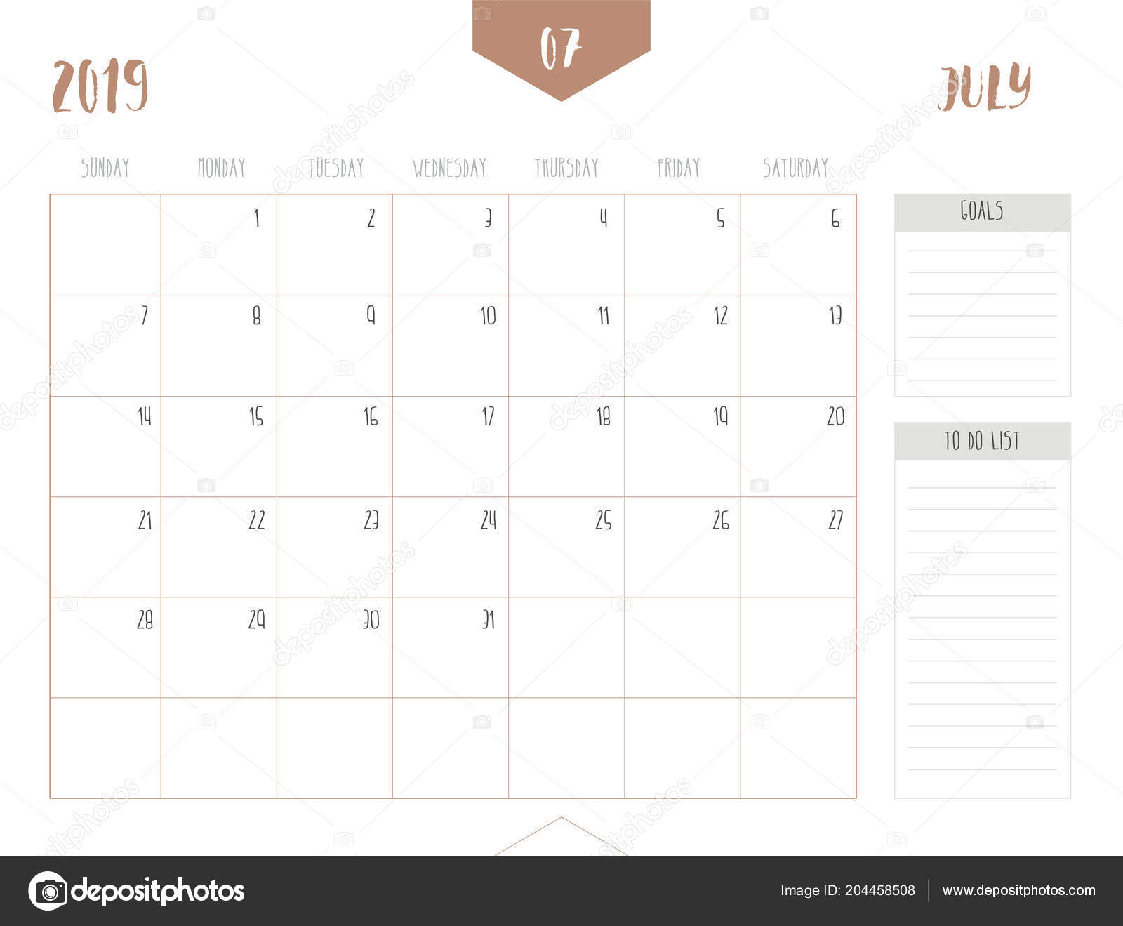 Calendario 2019 Julio.Vector Calendario 2019 Julio Estilo Tabla Limpia Simple Con