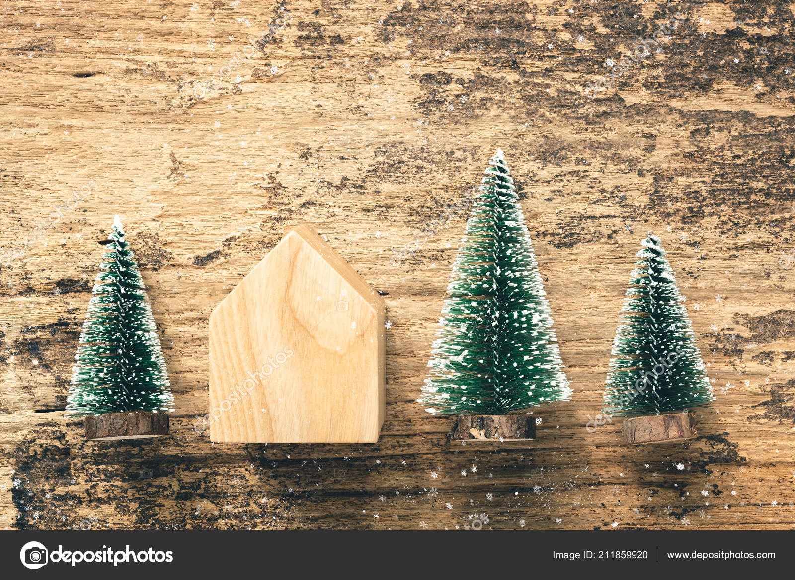 Madera Juguete Superior Casa Del Navidad Mini Árbol Mesa Vista Y7y6gvfb