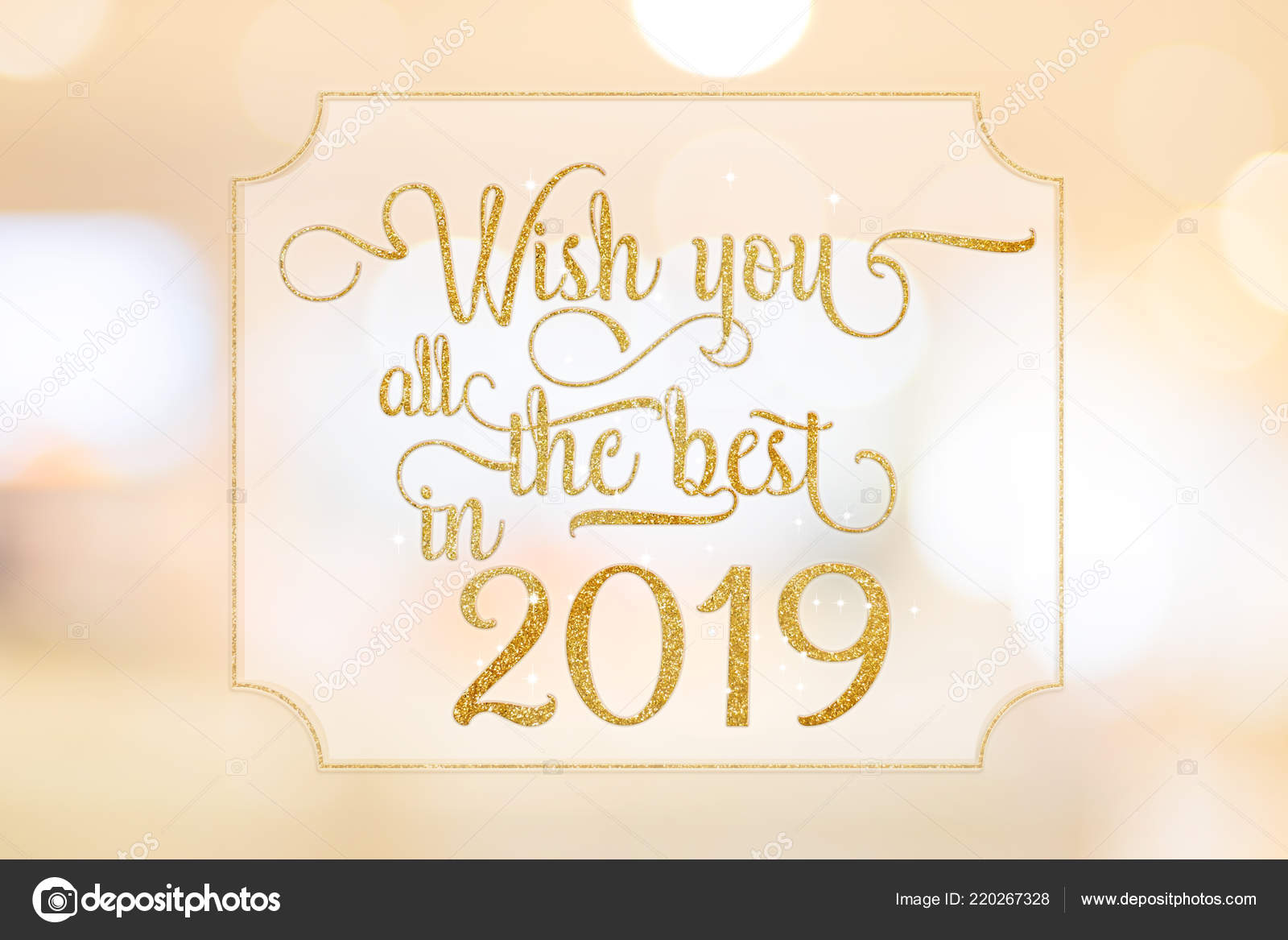 wish you all best 2019 gold glitter word white frame stock photo