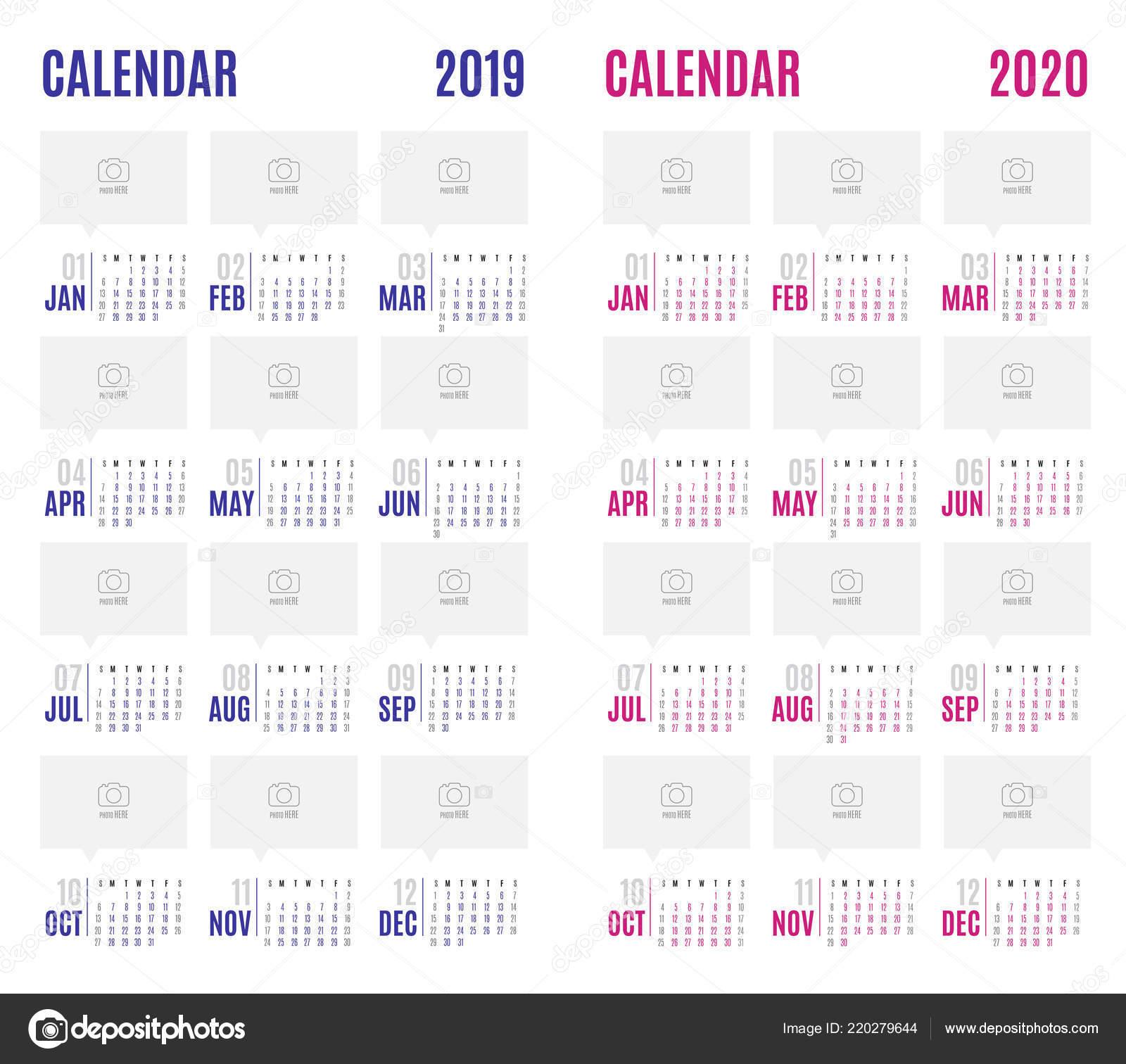 Calendario 2020 Planner.Vector Calendar Blue 2019 Pink 2020 New Year Modern Simple