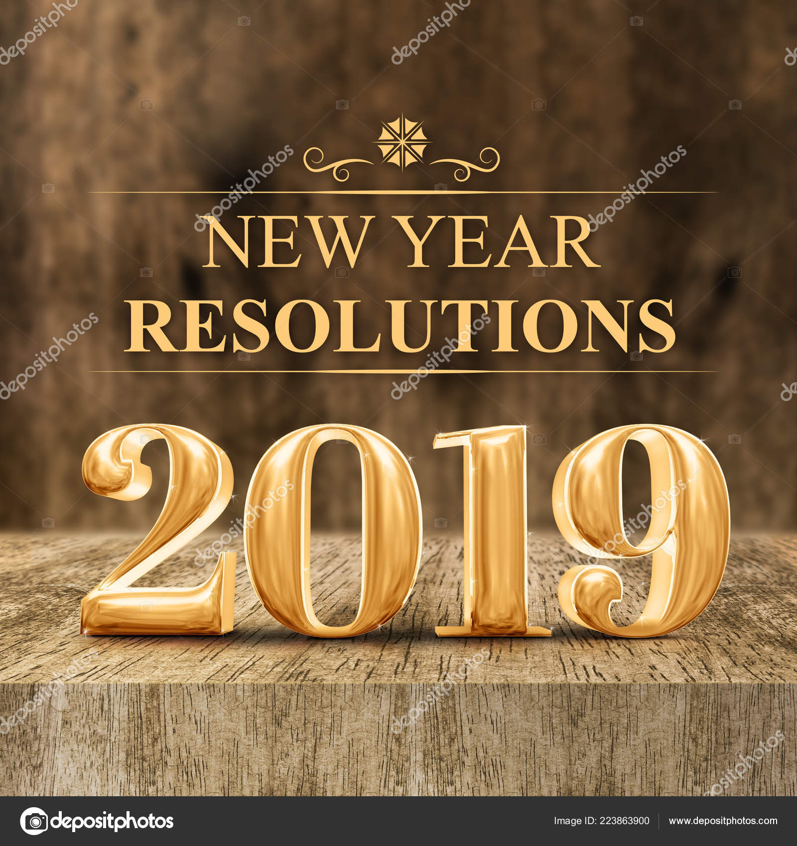 2019 New Years Resolutions Gold Shiny 2019 New Year Resolutions Rendering Wooden Block Table
