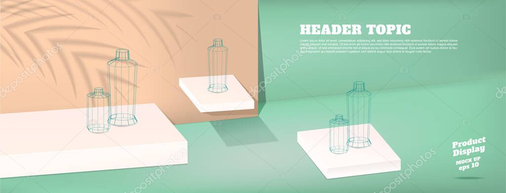 Summer Studio Table With Product Display Block Background Pastel Mint Green And Peach With Palm Leaf Shadow And Hard Light Room For Display Of Product Mockup Banner For Advertising Online Premium Vector In