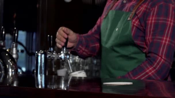 Barista versando delizioso gustosa birra al pub, collocandolo sul bancone. Fuoco selettivo su un bicchiere di birra fresca gustosa sulla barra contatore, lo spazio della copia. Concetto di celebrazione