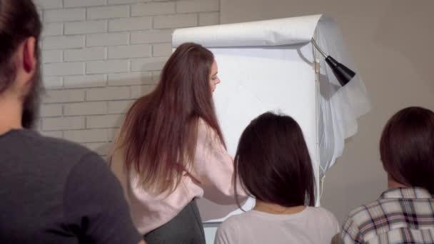 Mladá podnikatelka na flipchart, vedoucí obchodní konference