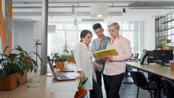 Geschäftsleute, die gemeinsam Dokumente prüfen, arbeiten in Innenräumen