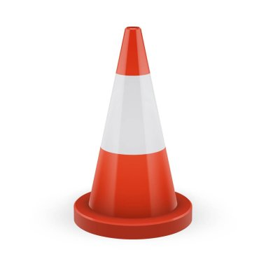 Orange traffic cone with round base and white stripe