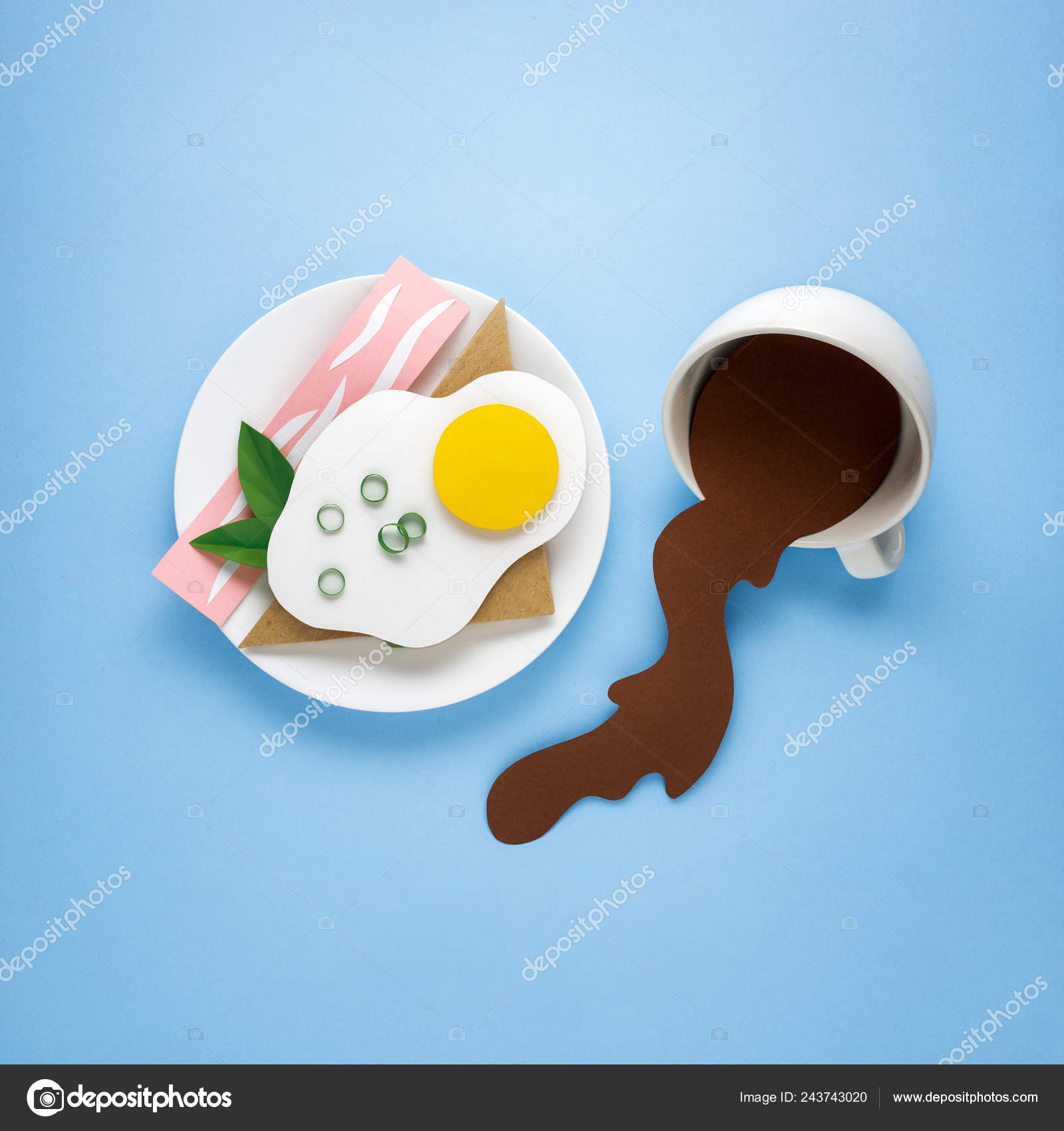 Creative Concept Photo Paper Breakfast Plate Coffee Blue Background Stock Photo C Fisher Photostudio 243743020