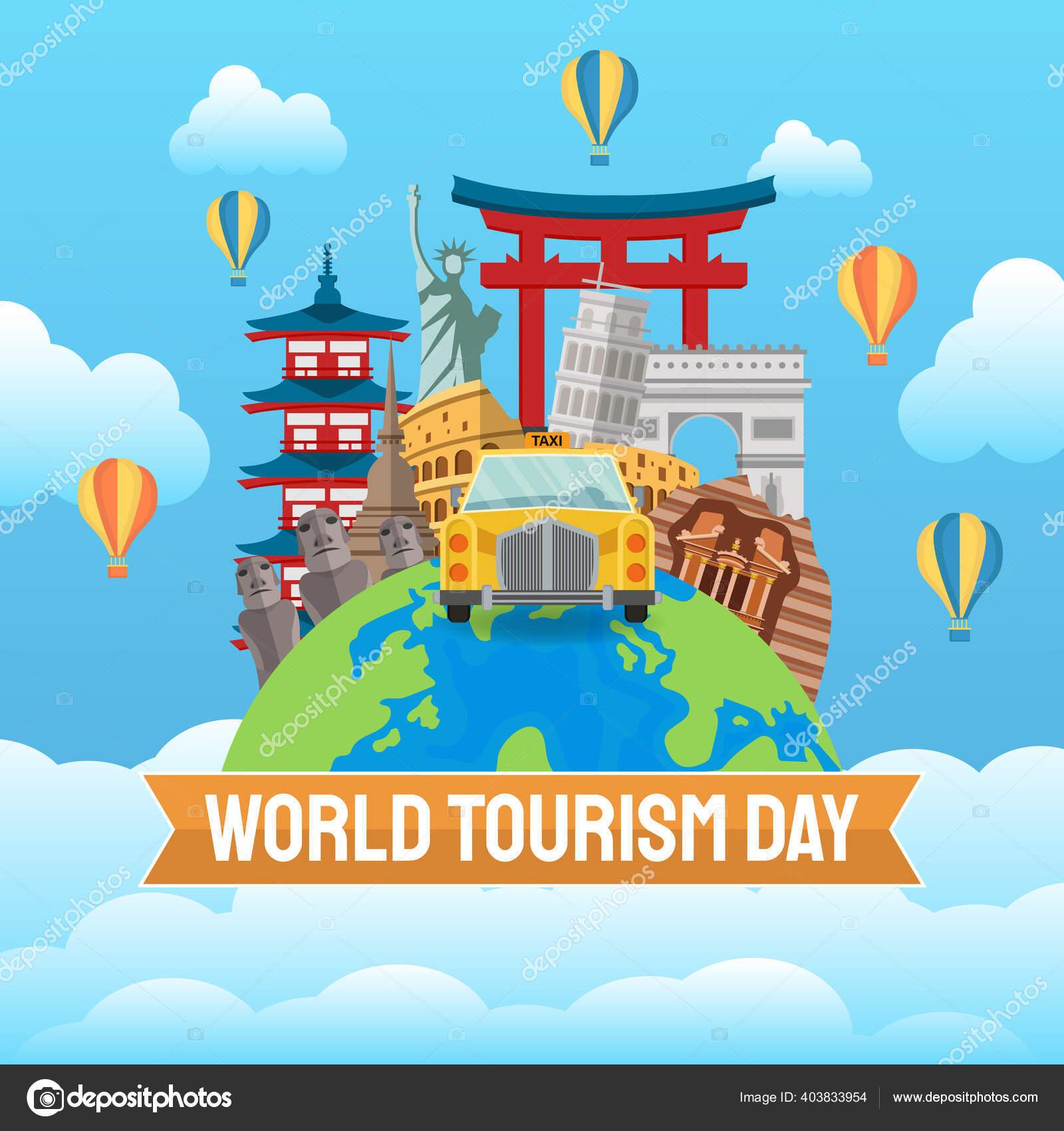 Ilustrasi Gambar Tangan Dari Konsep Hari Pariwisata Dunia
