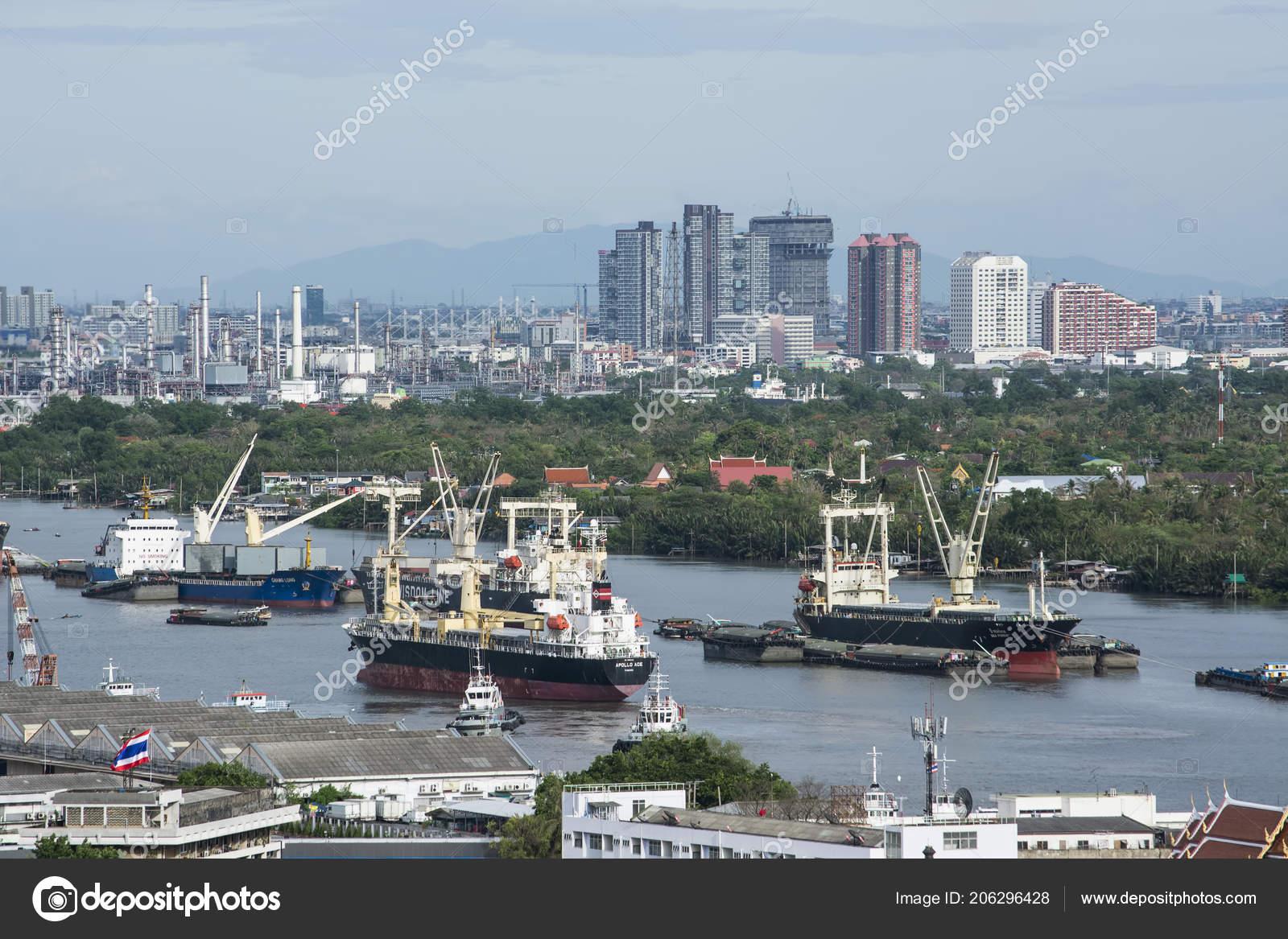 Bangkok Thailand May 2016 Industrial Shipping Port Loaded